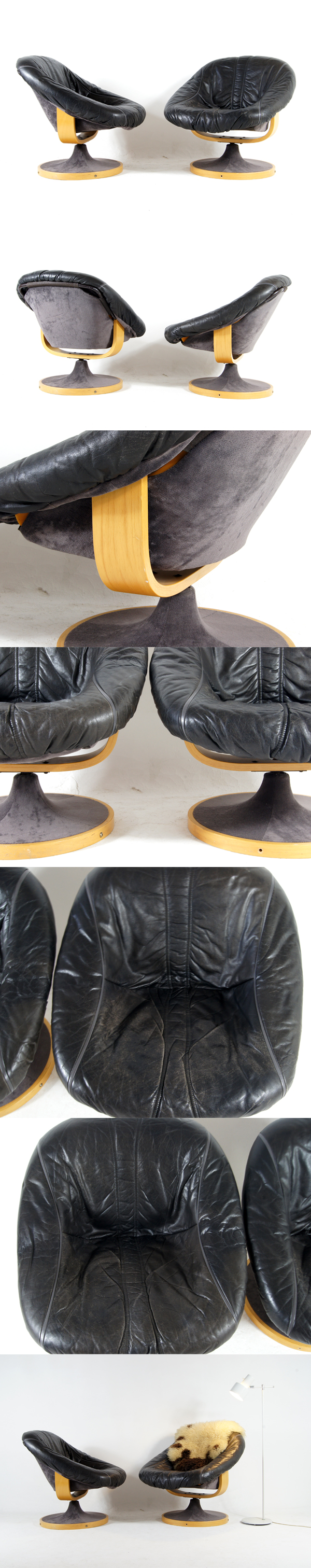 1 of 2 retro vintage danish leather bucket swivel lounge for 70s egg chair