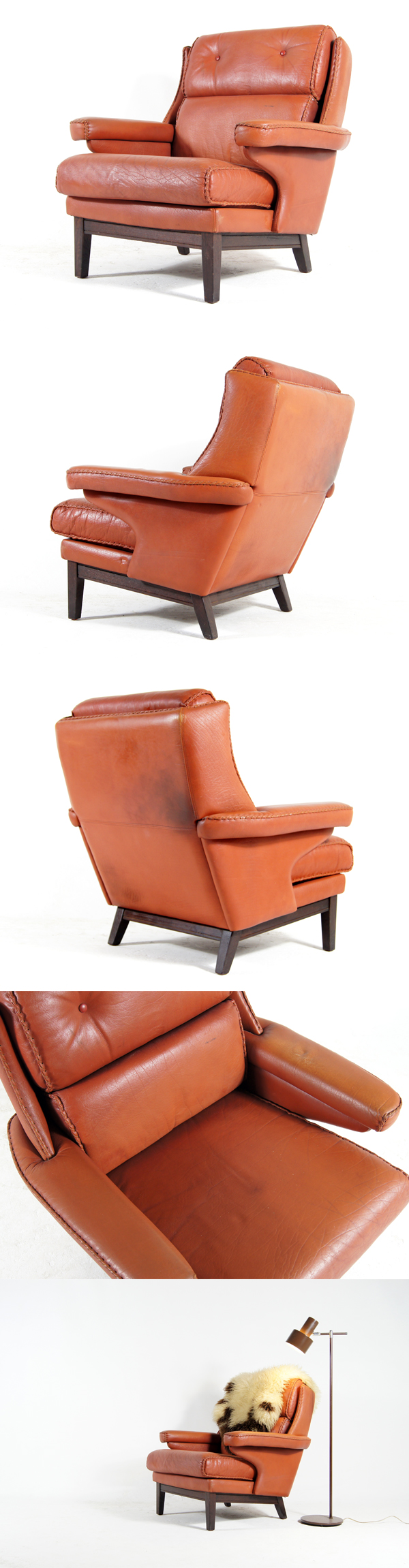 Retro vintage red leather rosewood armchair lounge chair for Designer chairs from the 60s